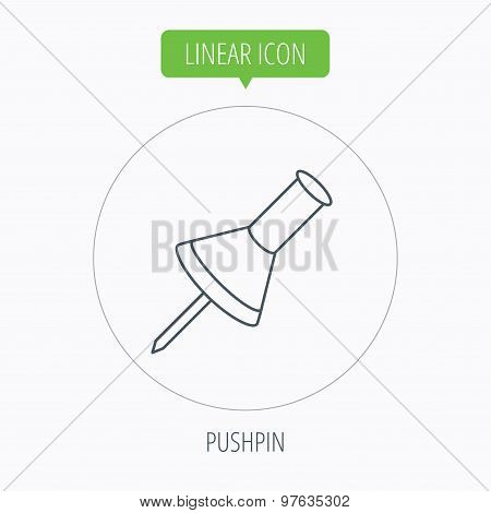 Pushpin icon. Pin tool sign.