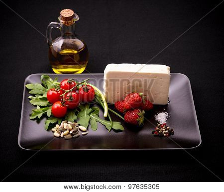 Ingredients For Strawberry Tomato Salad With Feta Cheese