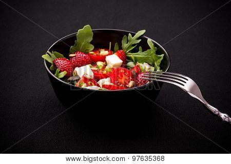 Strawberry Tomato Salad With Feta Cheese, Fork
