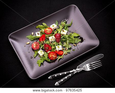Strawberry Tomato Salad With Feta Cheese And Cutlery