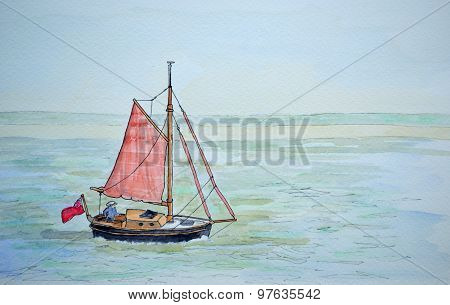 Painting of vintage sailing boat