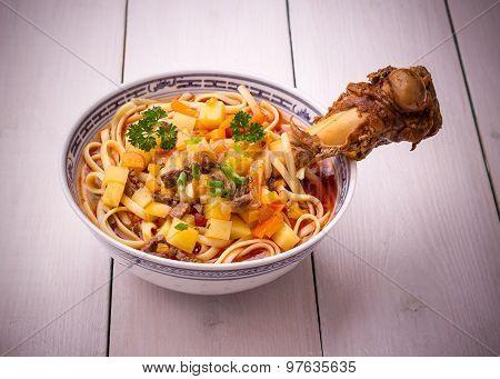 Uzbek Noodle Soup Lagman With Large Bone