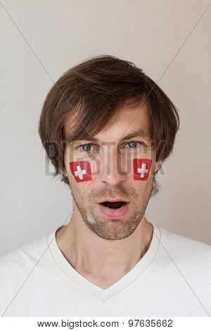Surprised Swiss Sports Fan