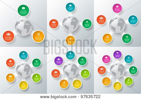 Vector Circle Element With Earth For Infographic.