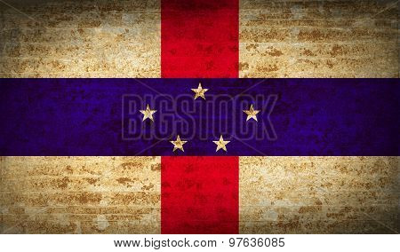 Flags Netherlands Antilles With Dirty Paper Texture. Vector