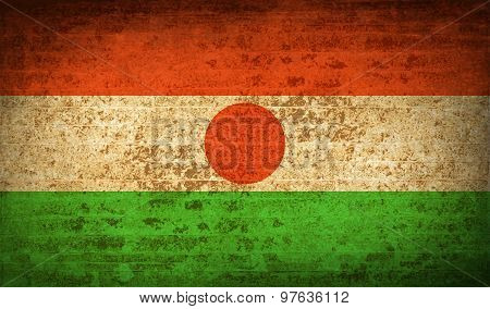 Flags Niger With Dirty Paper Texture. Vector
