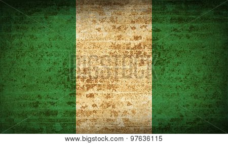 Flags Nigeria With Dirty Paper Texture. Vector