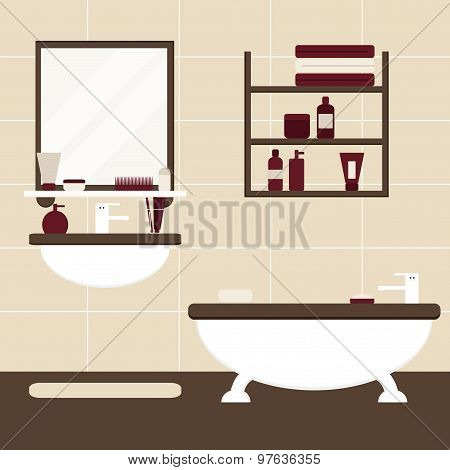 Modern bathroom interior design in brown, beige and burgundy colors. Flat bathroom elements.