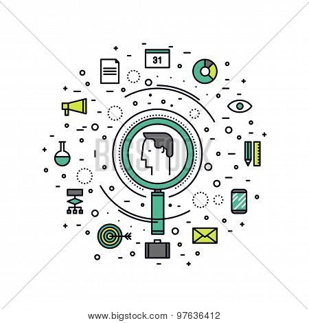Professional Headhunting Line Style Illustration