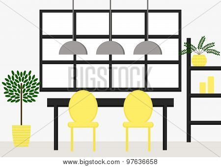 Modern dining room interior design with table, chairs, cupboard, flowerpot, lamps and window.