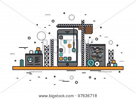 Mobile Apps Construction Line Style Illustration