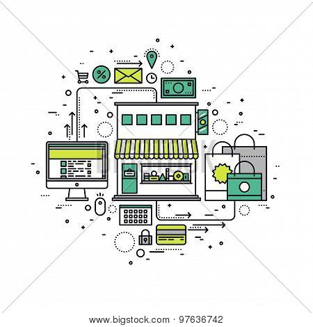Online Store Line Style Illustration