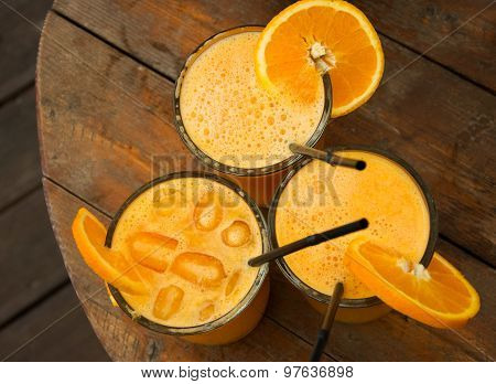 Glasses Full Of Fresh Squized Orange Juice