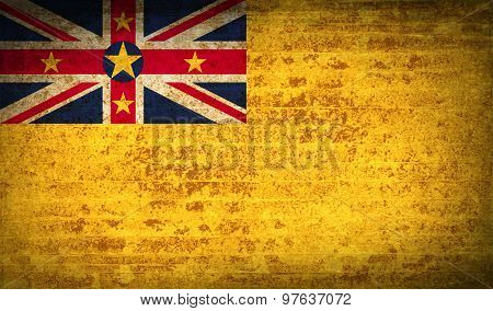 Flags Niue With Dirty Paper Texture. Vector