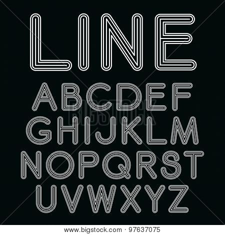 Vector Linear Font In Mono Line Style