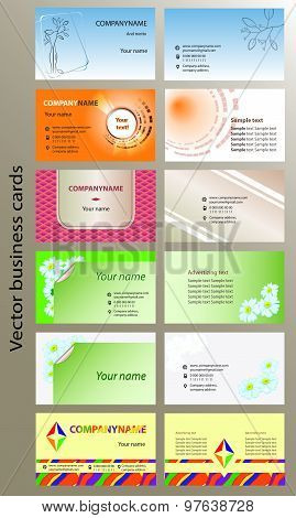 Set of bilateral horizontal vector business cards