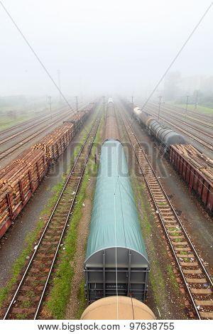 Cargo Train Platform With Container, Railway
