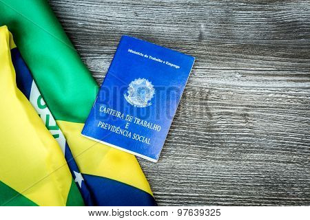 Brazilian work document and social security document on the table (Carteira de Trabalho)