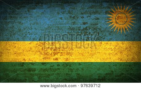 Flags Rwanda With Dirty Paper Texture. Vector
