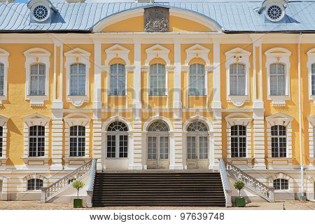 Exterior of the Rundale palace facade in Pilsrundale, Latvia.