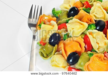 Salad Made With Tortellini, Olives, Broccoli, Red Pepper, On A Plate