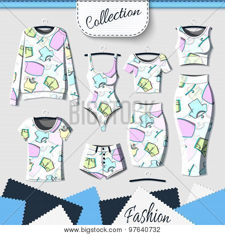 Set of clothes with stylish print and stereo effect