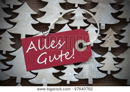 Red Christmas Label Alles Gute Means Best Wishes