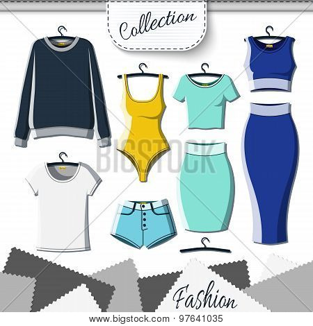 Set of colored clothes to create design on white background