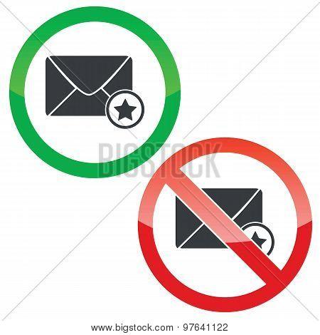 Favorite message permission signs set