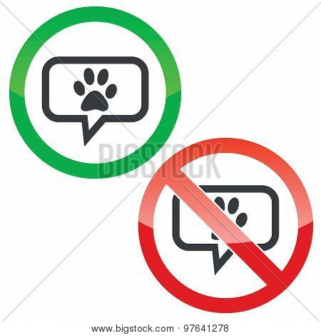 Animal paw message permission signs
