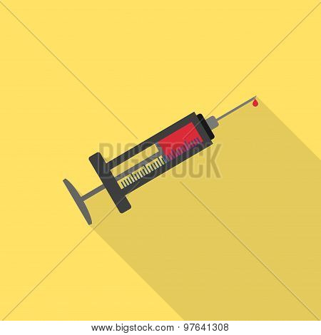 Syringe flat icon with long shadow