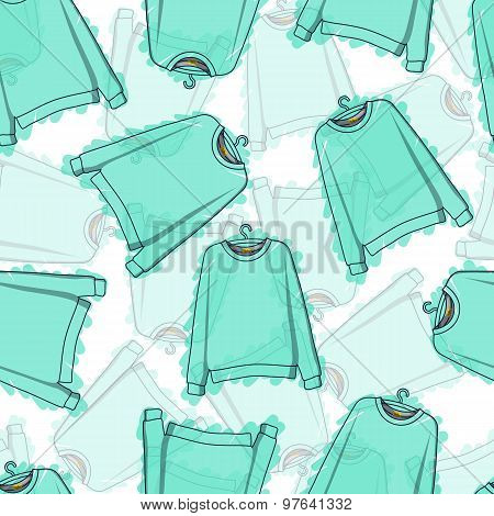 Seamless pattern of transparent blue sweatshirts