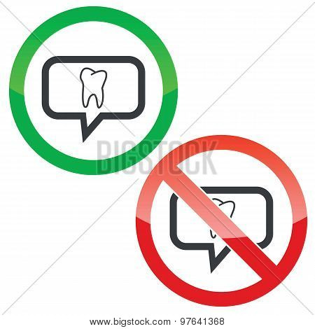 Tooth message permission signs