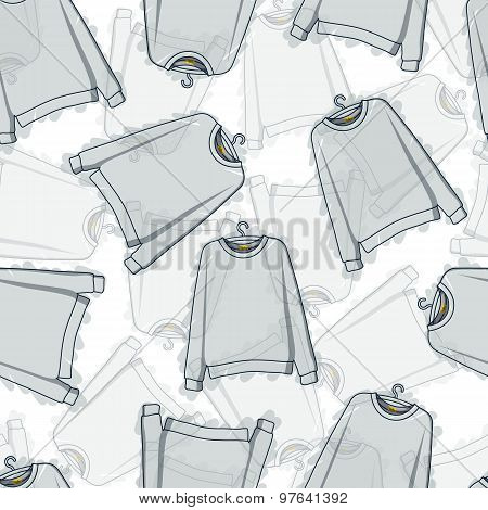 Seamless pattern of transparent grey sweatshirts