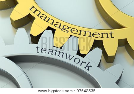 Management And Teamwork Concept On The Gearwheels