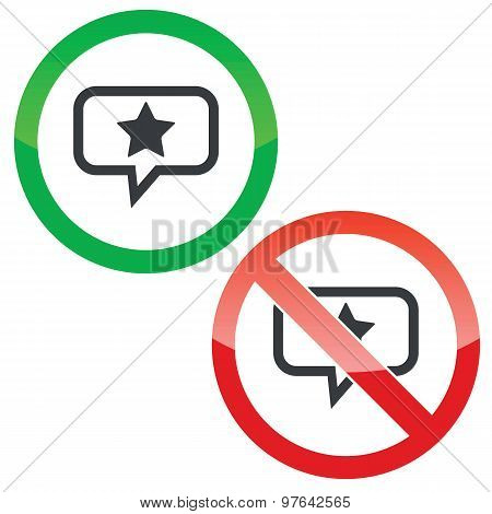 Star message permission signs