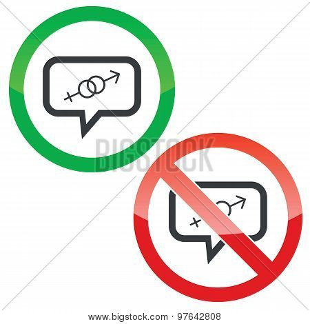 Gender message permission signs