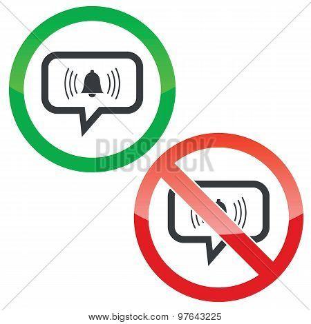Alarm message permission signs