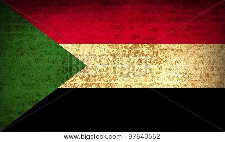 Flags Sudan With Dirty Paper Texture. Vector