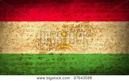 Flags Tajikistan With Dirty Paper Texture. Vector