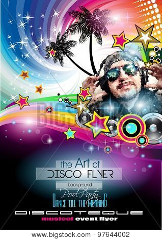 Club Disco Flyer Set with LOW POLY DJs and Colorful Scalable backgrounds. A lot of diffente style flyer for your techno, hip hop, electro or metal  music event Posters and advertising printed material