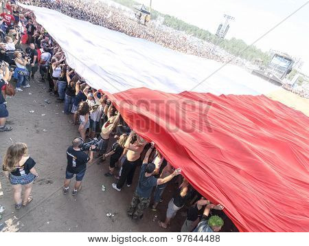 Polish Flag Spread With Audience.