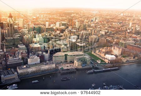 LONDON, UK - APRIL 15, 2015: City of London panorama in sunset and first night lights.