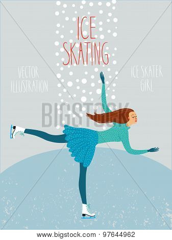 Cartoon Ice Skater Lady Poster