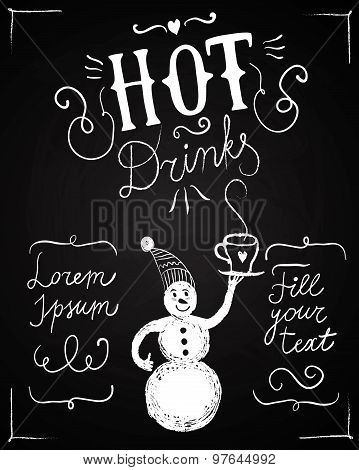 Vintage Poster With Calligraphy And Cartoon Snomnan On Blackboard Background