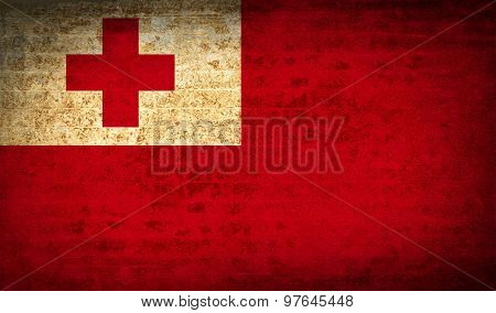 Flags Tonga With Dirty Paper Texture. Vector