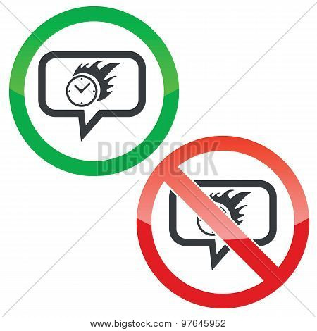 Burning time message permission signs