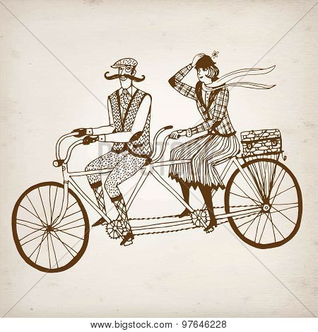 Retro Cyclists Vector Illustration