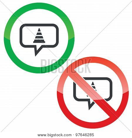 Traffic cone message permission signs