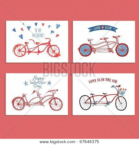 Tandem Bicycle Postcards Set About Love